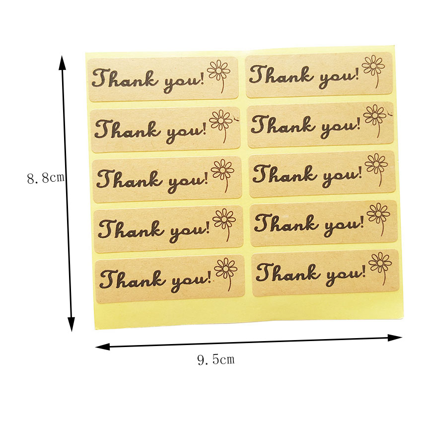 Купить с кэшбэком 100pcs/lot Stickers Scrapbooking 'Thank You' Flower Adhesive Seal Sticker For Hand Made Gift Package Decoration Label Stickers