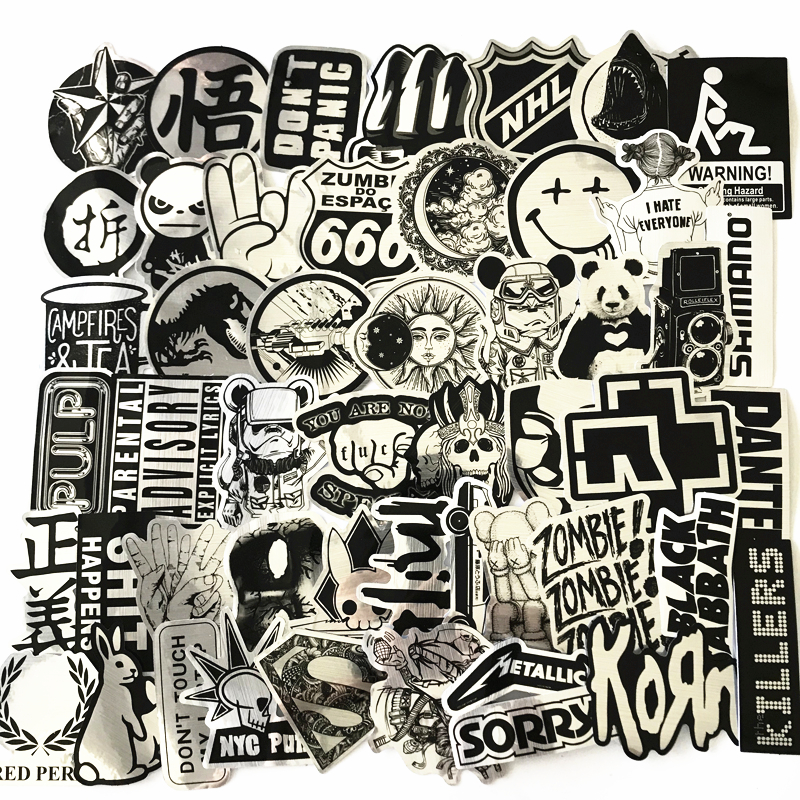 2020 Waterproof 50Pcs Wire Drawing Style Sticker Decal For Snowboard Luggage Car Fridge Car- Styling Laptop Stickers