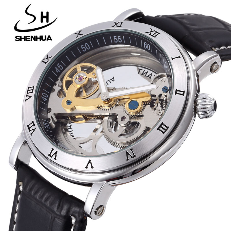 лучшая цена Mechanical Watch Men Fashion Transparent Watches SHENHUA Automatic Mechanical Skeleton Watches Leather Band Relogio Masculino