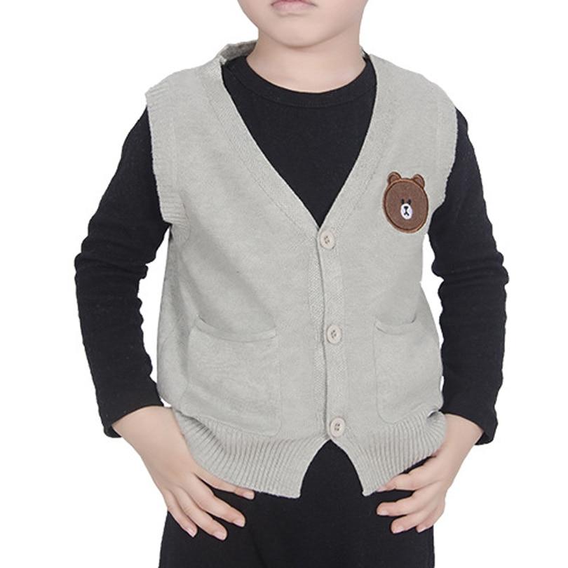 1-7Y Infant Toddler Baby Boy Girl Sweater V Neck Knitted Button Bear Vest Children Coat Kids Bobo Bebe Cotton Cardigan Clothes
