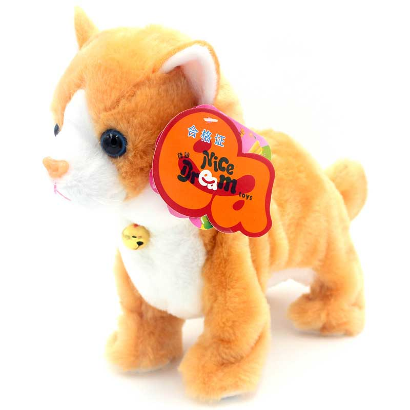 Robot Cats Sound Control Toys Electronic Toy Stand Walk Mew Interactive Cat Soft Plush Cat Pet Toys For Children Birthday Gifts robot unicorn sound control interactive unicorn electronic toys plush pet unicorn toy walk talk toys for children birthday gifts