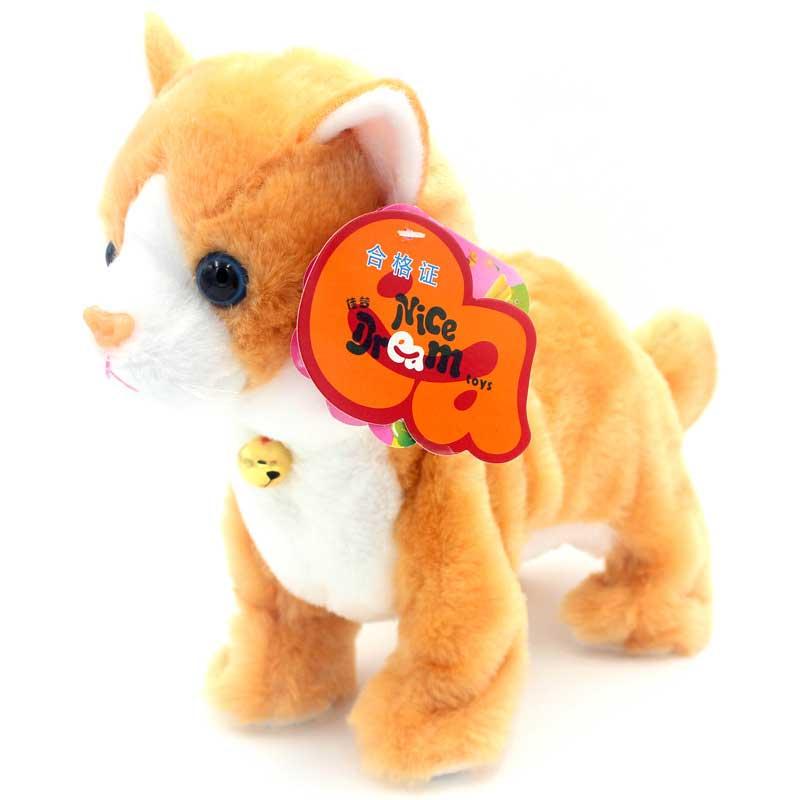Robot gatos Control de sonido juguetes de juguete electrónico pie Mew gato interactivo suave peluche gato juguetes para niños cumpleaños regalos