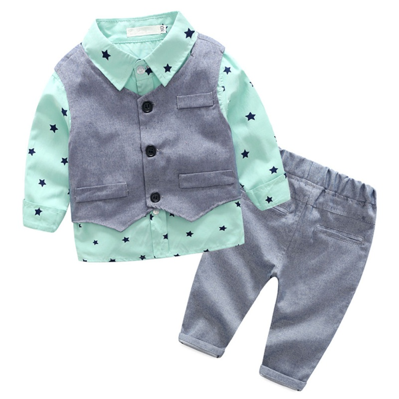 Autumn Baby Boy Clothing Set Star Print Blouse+Gray Vest Tops t+Pants Little Gentleman Children Clothes 3 Pcs/Sets