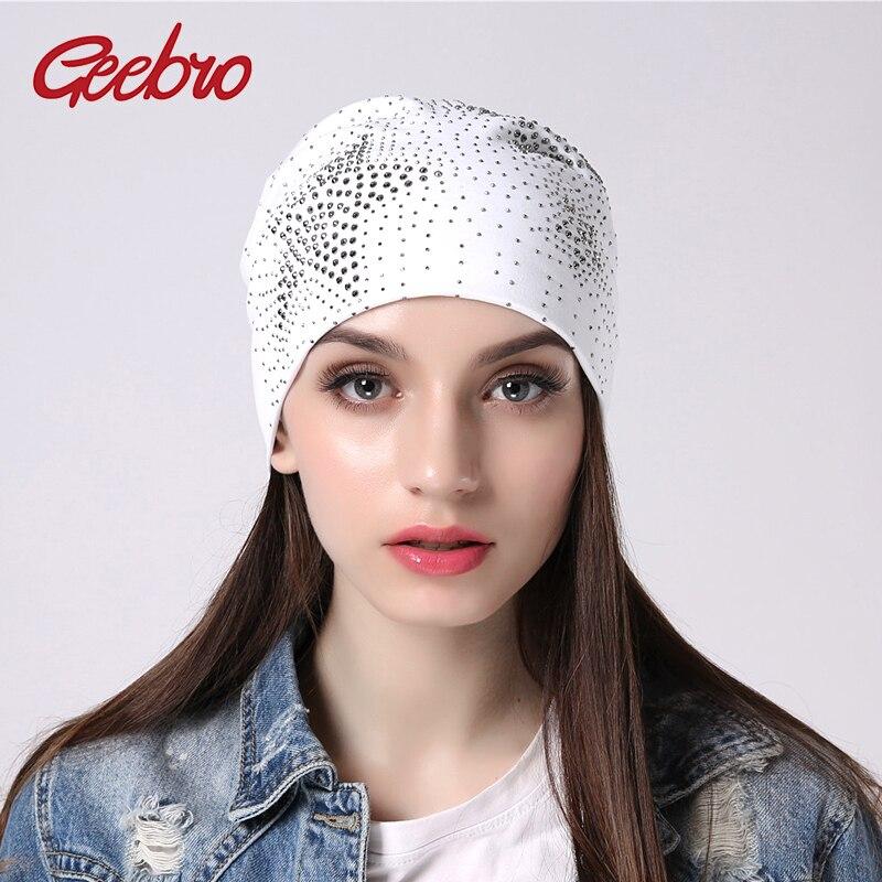 Geebro Women's Hats With Rhinestone Gorras Cotton Hats For Women Bonnet Beanie Hat Skullies Beanies Knitted Female Hat  JS298