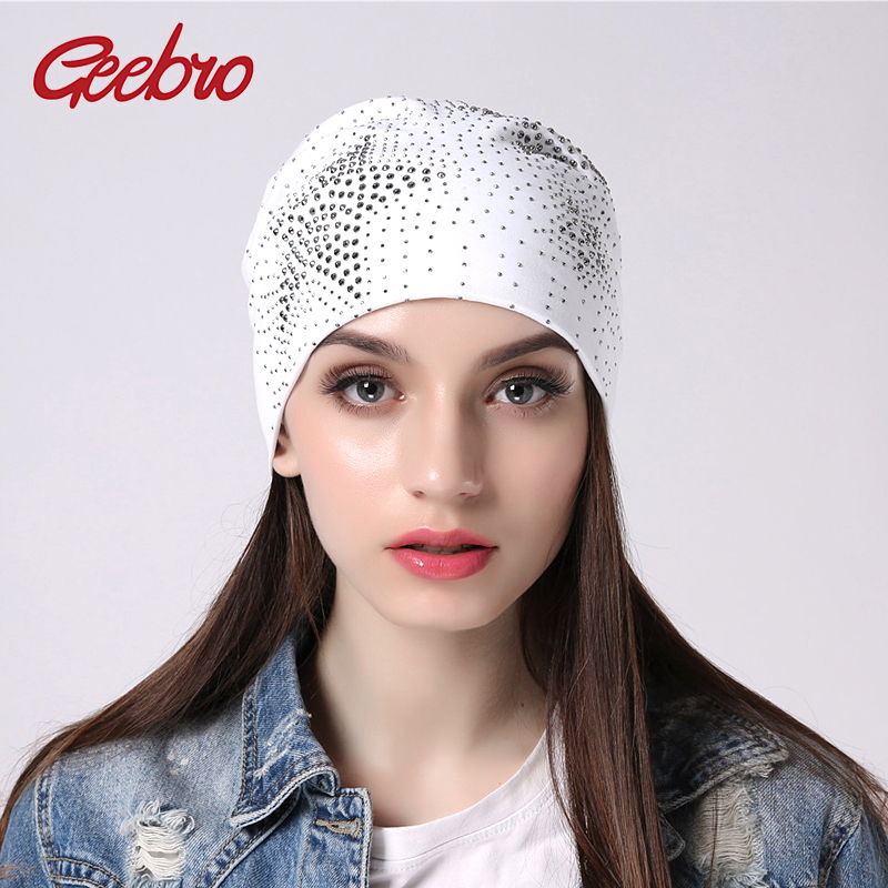 Geebro Women's Hats With Rhinestone Gorras Cotton Hats For Women Bonnet   Beanie   Hat   Skullies     Beanies   Knitted Female Hat JS298