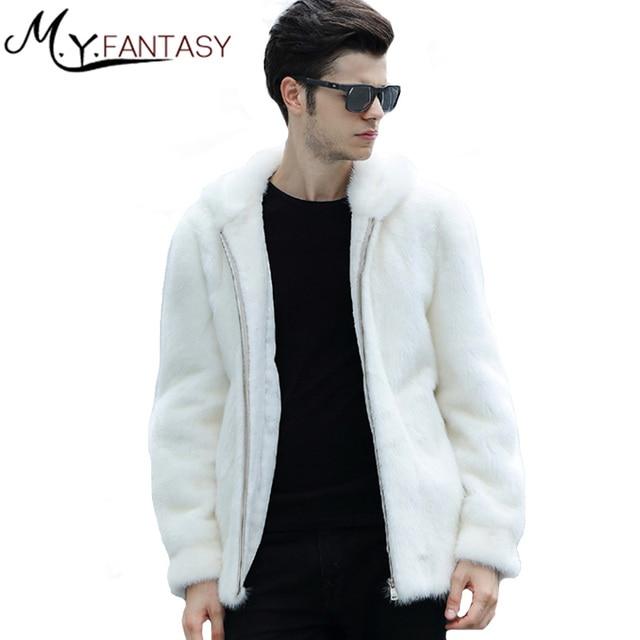 M Y FANSTY 2019 invierno cuello de visón chaqueta con cremallera blanco puro Real de piel de abrigo chaqueta genial hombre con sombrero de Causal abrigos de visón