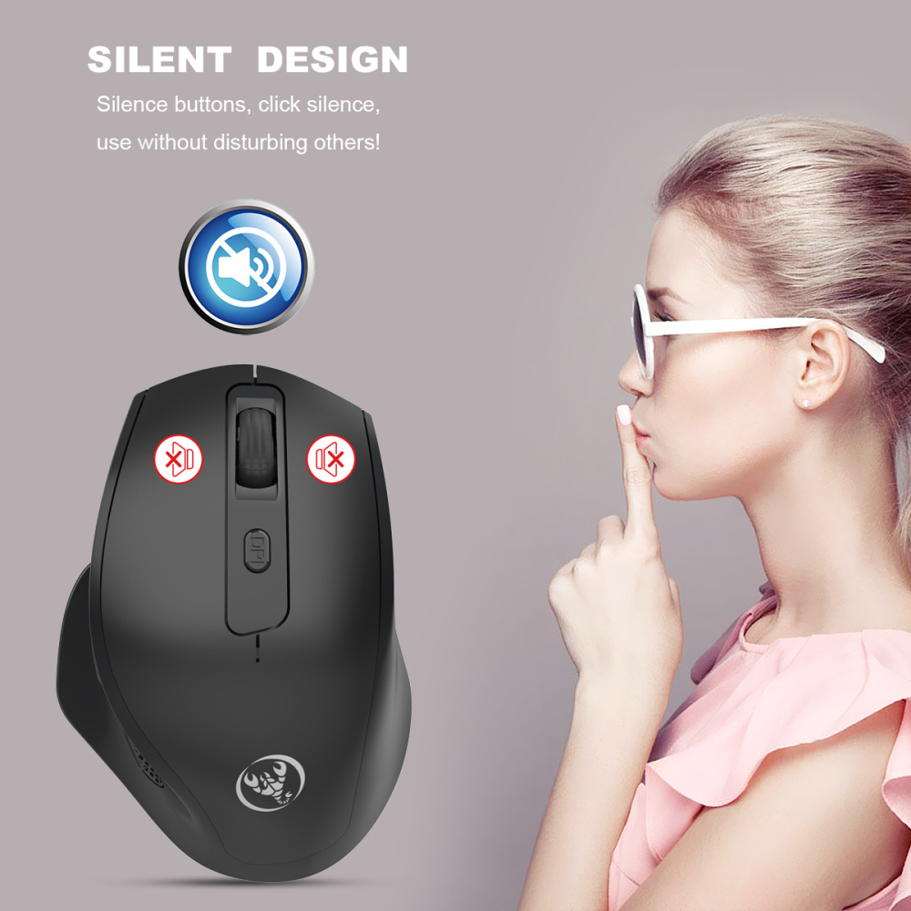 Image 2 - HXSJ new wireless vertical mouse USB2.4G rechargeable mute mouse black 3 file adjustable DPI suitable for PC notebook use-in Mice from Computer & Office