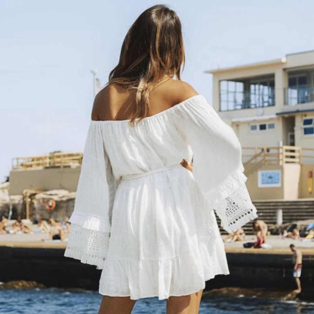 2019 Donne di Estate di Usura Della Spiaggia Cover-Up Bianco di Cotone Tunica Gonna Avvolgente Bikini Costume Da Bagno Cover Up Abito Da Bagno Sarong plage pareo