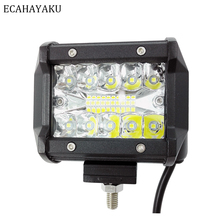 1x 60W Tri-Row LED Light Bar 4inch Flood Beam 6000K Driving Lights Off Road Lighting Work For Truck Car ATV Boat