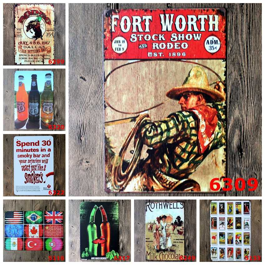 "Vendite calde ""birra bandiera cowboy"" retro ferro pittura della parete del metallo targhe in metallo Vintage poster Art House Cafe Bar wall stickers home decor"