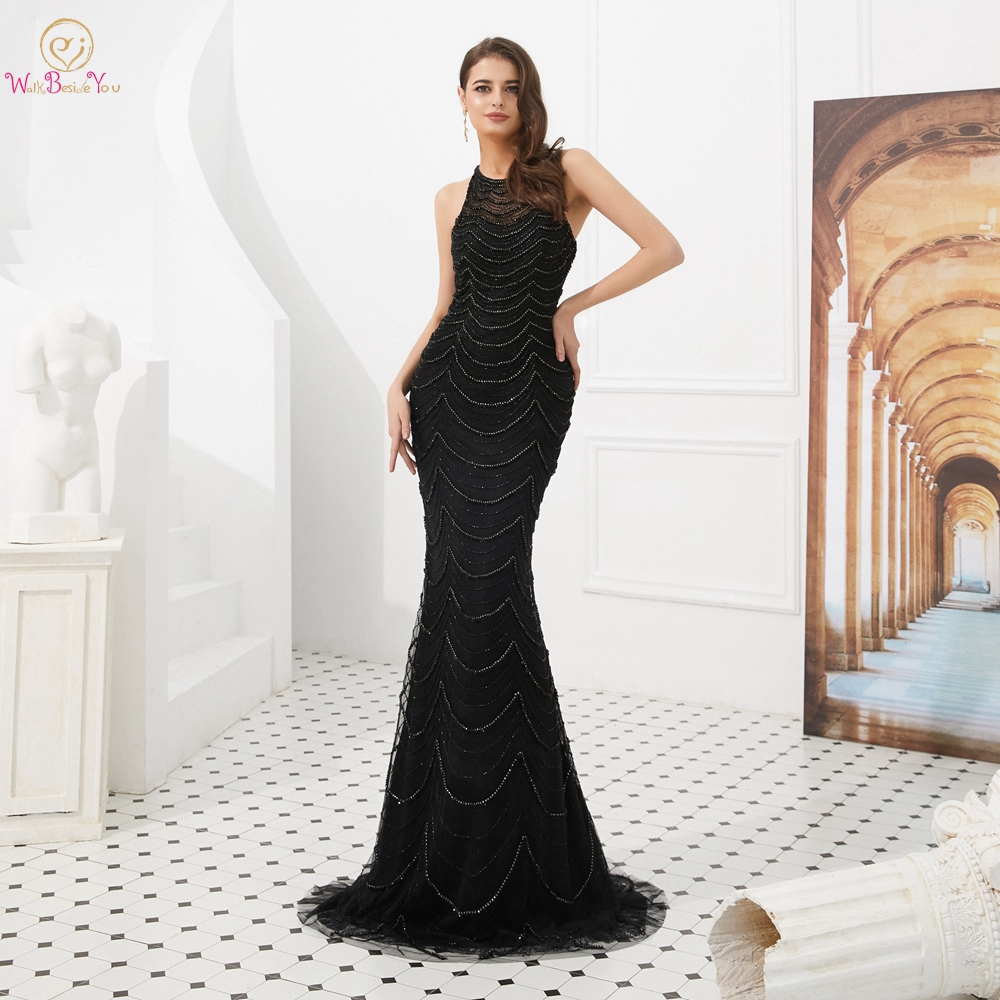 Beaded Evening Dresses Black Ceremony Women Long O neck Mermaid Long with Trail Prom Gowns Walk Beside You Dubai Elegant Dresses in Evening Dresses from Weddings Events