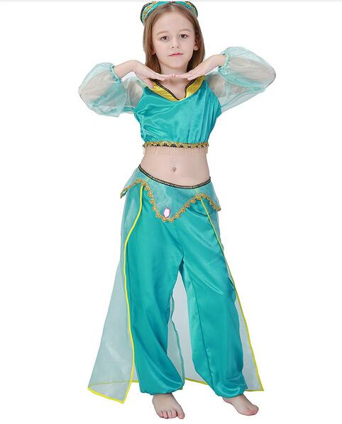 party game role costume halloween  princess jasmine costume Aladdin's Princess cosplay kid girl  Belly dance dress