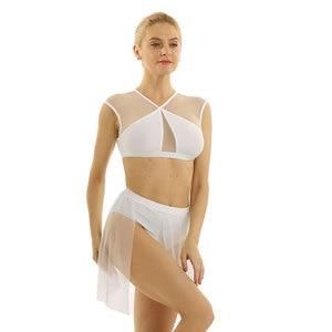Image 3 - Frauen Ballerina Ballett Kleid lyrical dance kostüme Asymmetrische Zeitgenössische Ärmel Criss Cross Crop Tops mit Ballett Rock