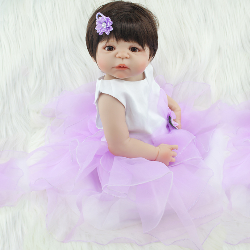 Full Body Silicone Reborn Baby Doll Toy Like Real 55cm Newborn Princess Toddler Babies Alive Victoria Doll Cute Girl Bonecas 55cm full silicone reborn baby doll toy real touch newborn princess toddler babies alive bebe doll with pacifier girl bonecas
