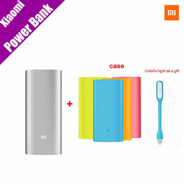 Original Xiaomi Power Bank 16000mAh Portable Charger Mi Powerbank External Battery Pack for Mobile Phone Backup Powers with Case