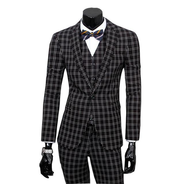 2016 nova chegada de casamento Ternos com Blazer + calça + colete xadrez 3 peça Ternos partido Ternos Ternos masculino 285