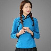 New Autumn Water Blue Long Sleeve Ladies Satin Shirt Chinese Mandarin Collar Novelty Modern Women S