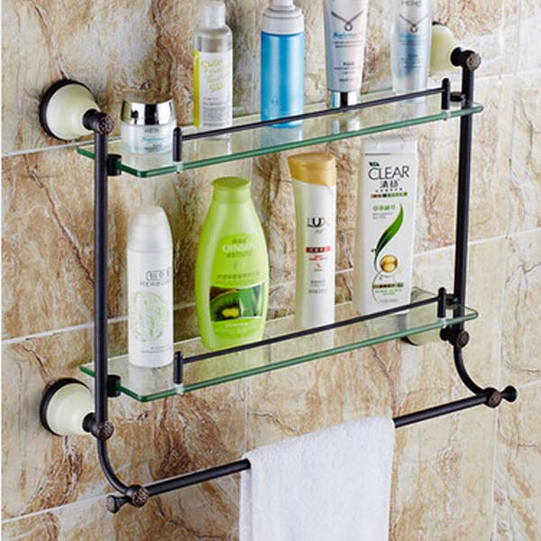 Oil Rubbed Bronze Bathroom Bathroom Shelf Shower Cosmetic Dual Glass ...