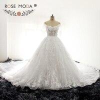 Rose Moda Luxury Hoa 3D Pháp Ren Công Chúa Wedding Bóng Gown với Tàu Hoàng Gia Mũ Có Thể Tháo Rời Sleeves Xem Qua Ren Top