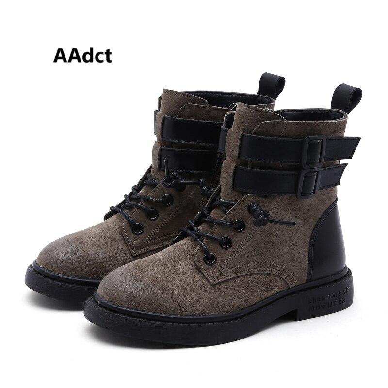 лучшая цена AAdct Cotton warm martin boots for boys New fashion girls boots 2018 Winter short kids boots