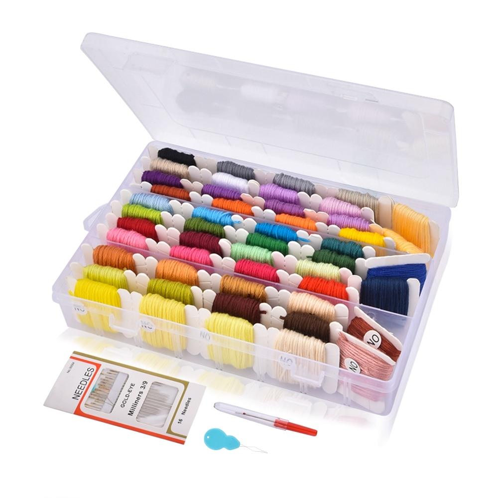 Kit de boîte de rangement fil de croix   Broderie, point de croix, fil de soie, bobines daiguilles à coudre, Kit de broderie, artisanat pour enfant