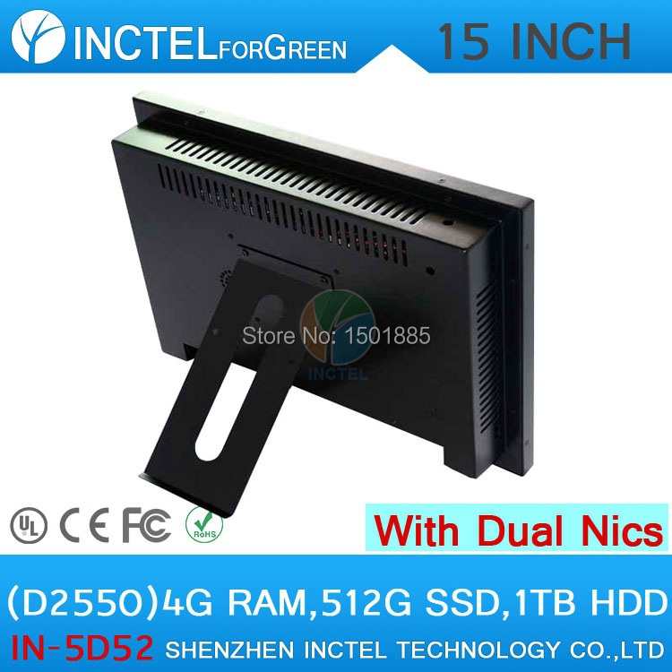 15 inch industrial Desktop PC All in One Computer with 5 wire Gtouch dual nics 4G