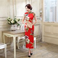 Red Chinese Bridal Traditional Wedding Party Dress Women S Classic Satin Qipao Long Sheath Print Flower