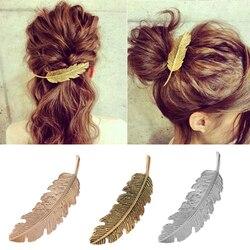 1Pcs Mode Metall Blatt Form Haar Clip Barrettes Kristall Perle Haarnadel Haarspange Farbe Feder Haar Krallen Haar Styling Werkzeug