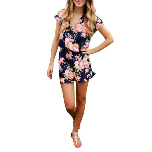 177650f5d71 FEITONG NEW women playsuit summer Short Sleeve V Neck Clubwear Floral Print  jumpsuit women elegantes de fiesta LREW
