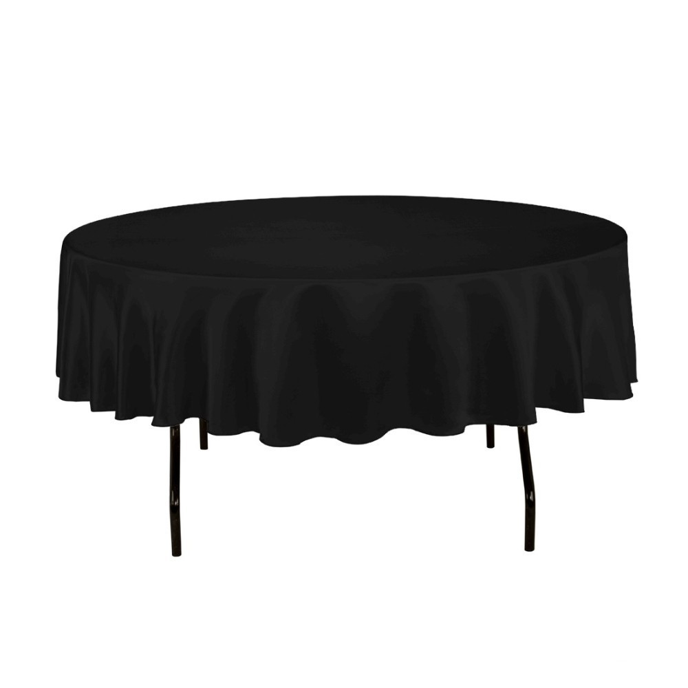 HK DHL Stain Feel 90 inch/230cm Polyester Round Tablecloth BLACK for Wedding Event Ceremony Banquet Party, 5/Pack