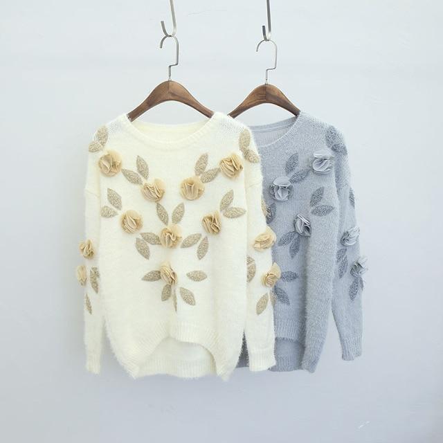 2016 Осень зима женщины норки кашемира вязать свитера леди свободные пуловеры мило стереоскопического вышивка плюс размер женщин трикотажные топы