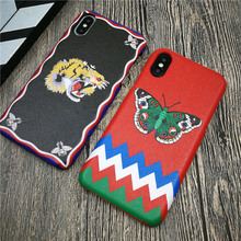 Italy Luxury brand GG case for iphone X XS MAX XR 8 7 6 6S plus plastic phone cover hard leather tiger butterfly fundas coque