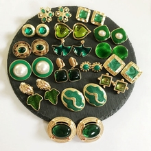 Free Shipping Sweet Elegant Designs Earring, Fashion Clip Green Styles Earrings
