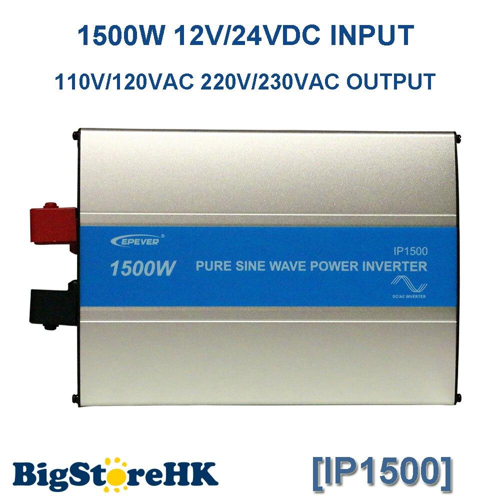 EPever 1500W IPower Pure Sine Wave Inverter 12VDC 24VDC Input 110VAC 120VAC 220VAC 230VAC Output 50HZ 60HZ Off Grid Inverter modified sine wave inverter 1500w with usb input 12vdc 24vdc 48vdc output 110vac 220vac solar micro inverter
