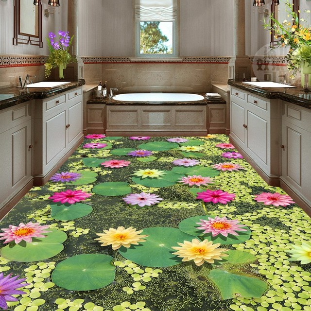 Livraison Gratuite Fleur De Lotus Carp Lotus Feuille 3d Peinture Sol