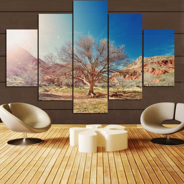 Newest Tree 5 Panels Wall Art Canvas Paintings Decora For Living Room Home Office