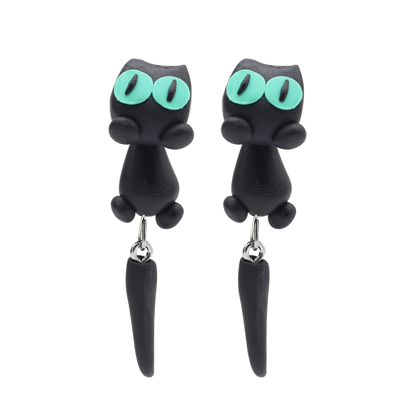 2017 Hot Black Cat Earrings Polymer Clay Handmade Cartoon Birthday Presents For Children In Stud From Jewelry Accessories On