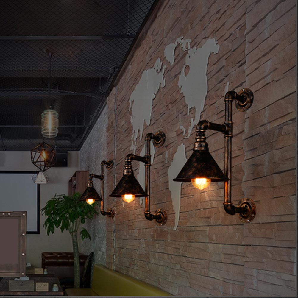 Industrial Pipe Wall Light: Vintage Industrial Edison Wall Lamps Metal Water Pipe Wall