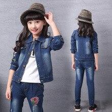 018 Autumn Newest Girls Clothes Suit Jacket +T shirt + Jeans 3 Pcs Set Fashion cartoon mouse print  Kids Coat for 4-15Year