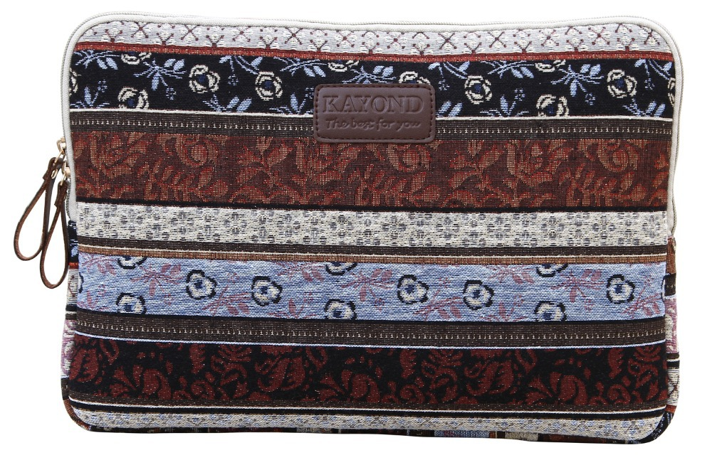 2015 Kayond Bohemia Style Canvas Laptop Sleeve Non-slip Neoprence Bag Case for Macbook Air Notebook 8 10 11 12 13 14 15 inch