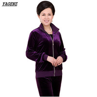 YAGENZ Velvet Tracksuits Women Spring Autumn New Middle Aged Mother Costumes Long Sleeves Coat Trousers Two