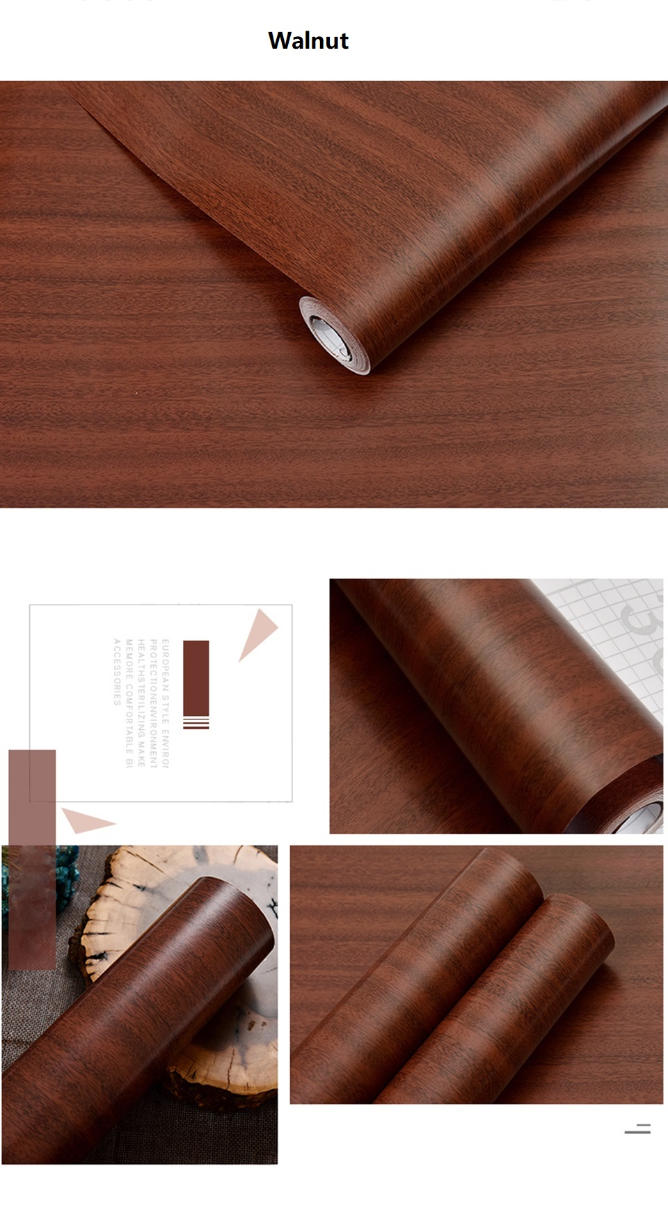 PVC Vinyl Wood Grain Contact Paper for Kitchen Cabinets Table Sticker Waterproof Self adhesive Wallpaper Phone Case Stickers