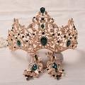 Barroco Do Vintage Verde Rhinestone Cristal Nupcial Do Casamento Da Princesa Quinceanera Tiara E Coroa Acessórios de Cabelo Jóias Cabeça