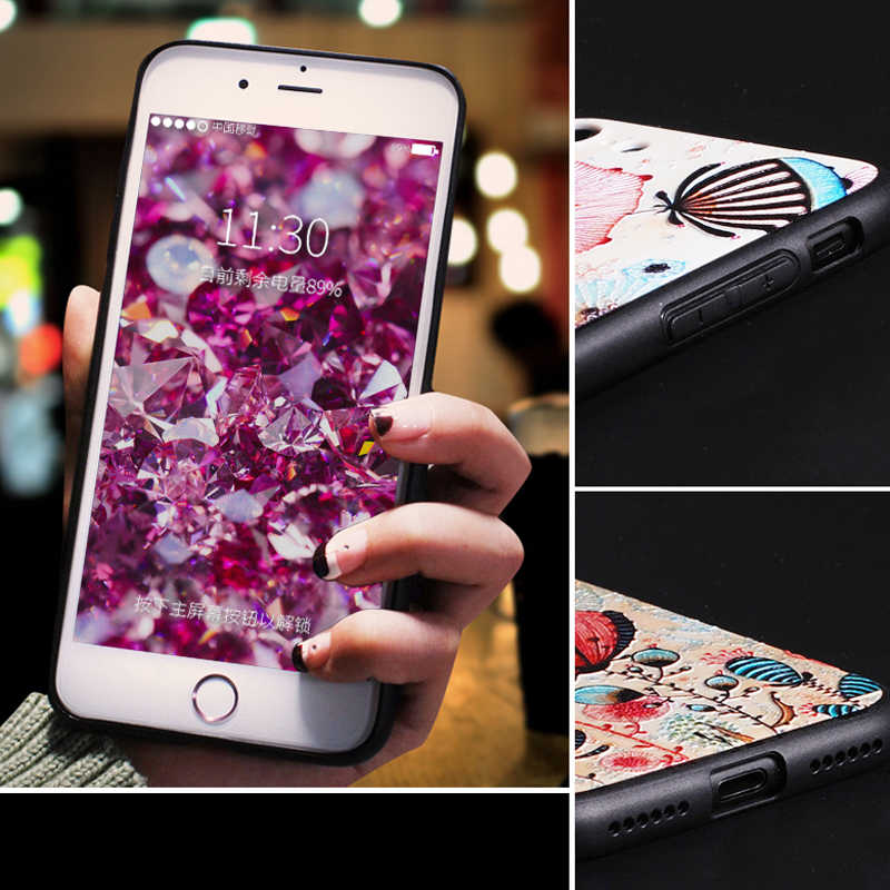 Yuotuo luxo 3d bonito telefone tpu volta etui, coque, capa, caso para apple iphone 8 plus 8 plus silicone flor acessórios i