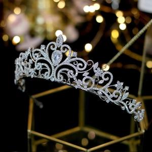 Image 4 - Classic love European zirconia tiara nupcial corona de cristal chapado vestido de novia con la novia accesorios para el cabello