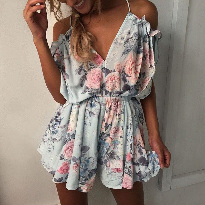 New Elegant Women V Neck Playsuits Floral Print Sleeveless Jumpsuits Casual Beach Overall Summer Costumes