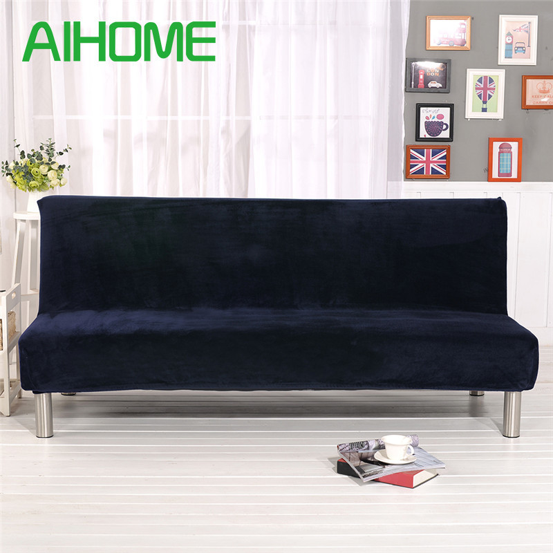 Winter Plush Sofa Bed Cover All-inclusive Slipcover For Sofa Without Armrest No Handrail Sofa Cover Three Seat Capa De Sofa