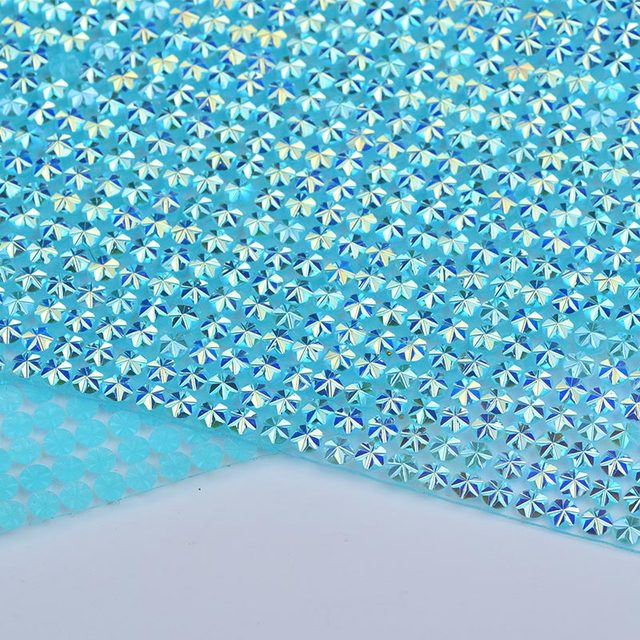 JUNAO 24 40cm Aquamarine AB Rhinestones Mesh Trim Crystal Fabric Sheet Hotfix  Resin Applique For ee0b85f2236d