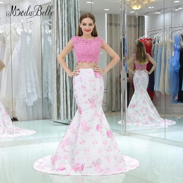 Modabelle Mermaid Pink Prom Dress 2 Piece 2018 Galajurken Lang Appliques Top 3D Floral Flower Pattern