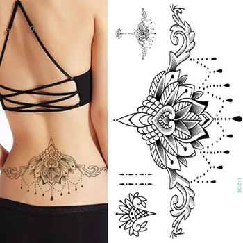 1pc Chest Flash Tattoo 23models large black magical flower Sternum tattoos body paint necklace Under breast 24*13.8cm cool girls